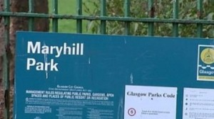 Entrance sign for Maryhill Park, Glasgow
